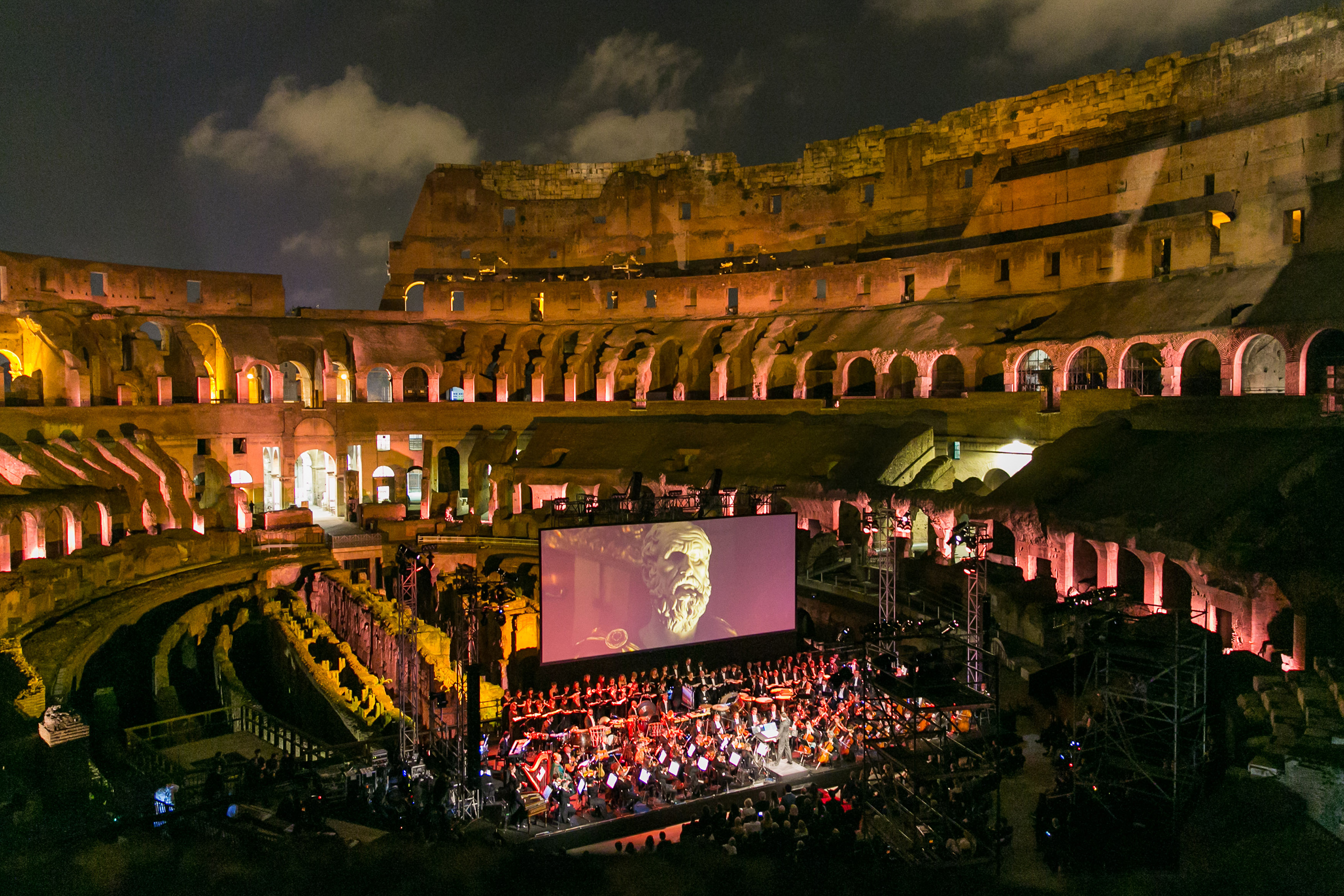 "Actor Russell Crowe and co-stars of the Oscar-winning movie ""Gladiator"" gathered 6 June for a special End Polio Now fundraising event inside the Colosseum in Rome, Italy."